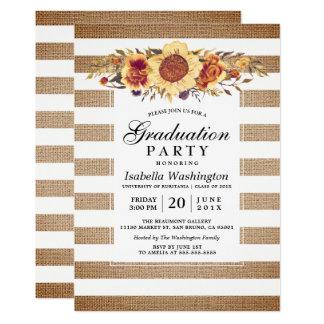 Rayas de la arpillera y fiesta de graduación invitación 12,7 x 17,8 cm