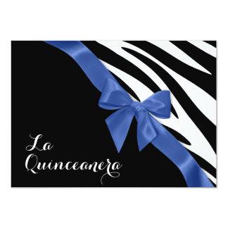 Rayas de la cebra de Quinceanera del La con la Invitación 12,7 X 17,8 Cm