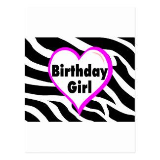 Rayas de la cebra del chica del cumpleaños postales