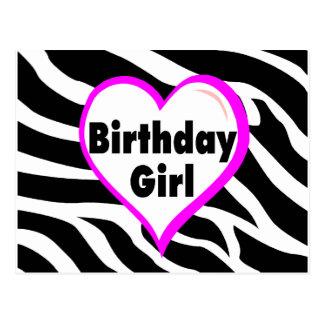 Rayas de la cebra del chica del cumpleaños postal