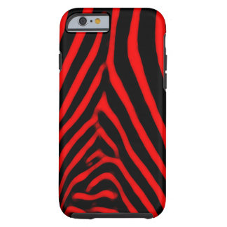 Rayas de la cebra rojas funda para iPhone 6 tough