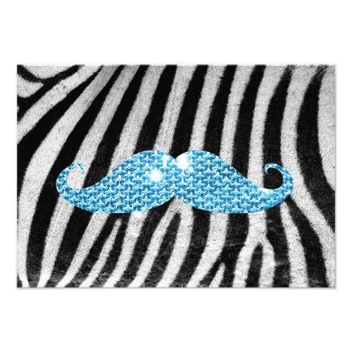 Rayas de la cebra y bigote azul de Bling Comunicado