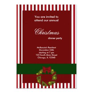 Rayas de la cena de navidad invitación 12,7 x 17,8 cm