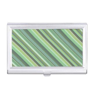 Rayas de la diagonal del verde verde oliva caja de tarjetas de negocios