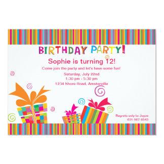 Rayas de la fiesta de cumpleaños invitación 12,7 x 17,8 cm