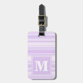 Rayas de la lila del monograma etiquetas para maletas