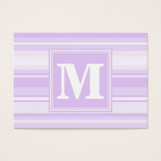 Rayas de la lila del monograma tarjeta de negocios