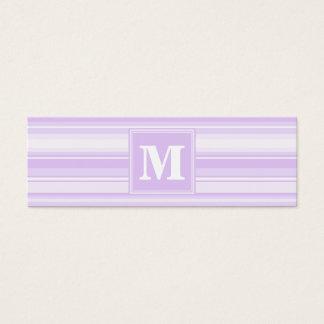 Rayas de la lila del monograma tarjeta de visita pequeña