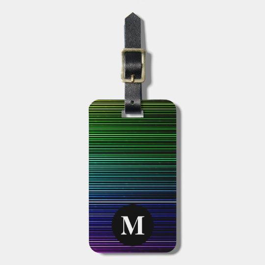 Rayas de la luz del arco iris del viaje del etiqueta para maletas