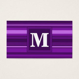 Rayas de la púrpura del monograma tarjeta de negocios