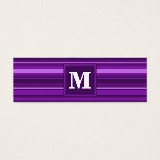 Rayas de la púrpura del monograma tarjeta de visita pequeña