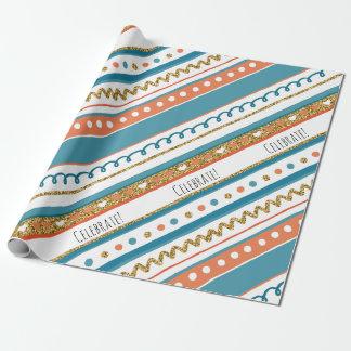 Rayas de moda del azul, coralinas y falsas del oro papel de regalo
