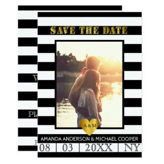 Rayas de moda y foto moderna invitación 12,7 x 17,8 cm