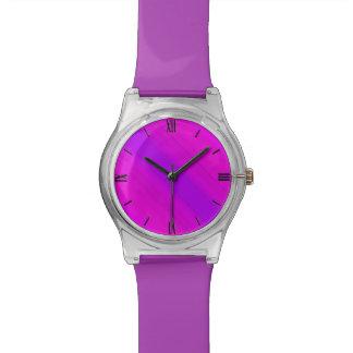 Rayas de neón - rosa, fucsia y violeta relojes de mano
