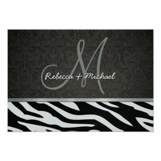 Rayas de plata elegantes de la cebra del negro y d comunicado