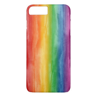 Rayas del arco iris de la acuarela funda iPhone 7 plus