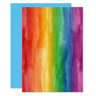 Rayas del arco iris de la acuarela invitación 12,7 x 17,8 cm