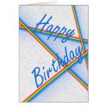 Rayas del arco iris del feliz cumpleaños felicitaciones