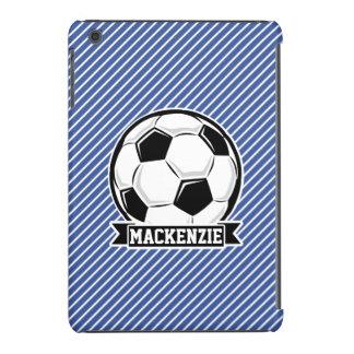 Rayas del balón de fútbol, azules y blancas, funda de iPad mini