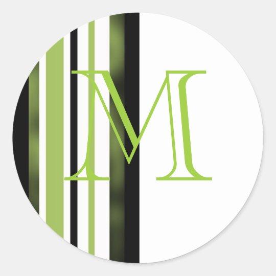 Rayas del blanco del verde del diseñador del boda pegatina redonda