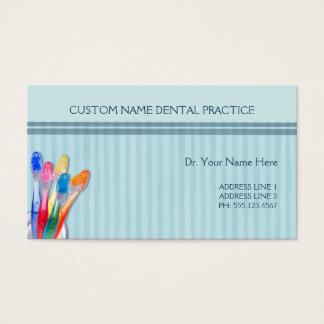 Rayas del cepillo de dientes de la práctica dental tarjeta de negocios