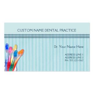 Rayas del cepillo de dientes de la práctica dental tarjetas de visita