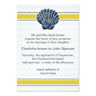 rayas del galón, diseño del boda de playa de la invitación 12,7 x 17,8 cm