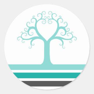 Rayas del gris azul de la aguamarina del árbol y pegatina redonda
