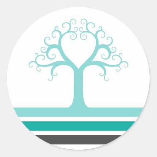 Rayas del gris azul de la aguamarina del árbol y pegatinas redondas