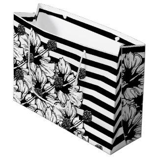 Rayas del hibisco bolsa de regalo grande