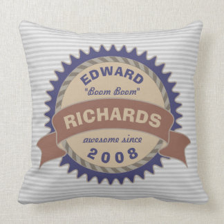 Rayas del logotipo del gris azul de Brown del Cojín Decorativo