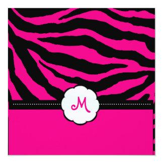 Rayas del monograma/de la cebra, color de DIY, y Invitación 13,3 Cm X 13,3cm