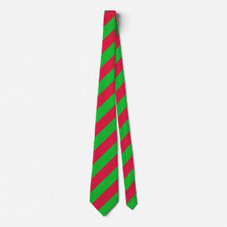 Rayas del navidad verde clásico y rojo corbata personalizada