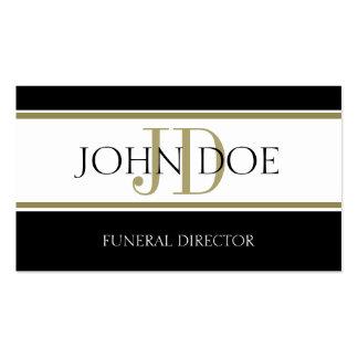 Rayas del oro del director de funeraria tarjetas de visita