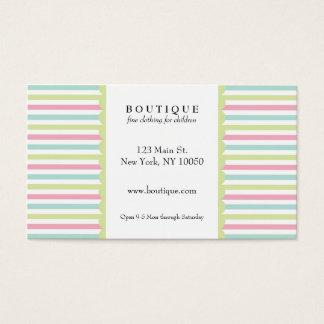 Rayas del pastel del boutique tarjeta de negocios