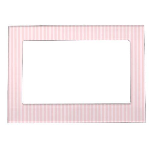 Rayas del rosa en colores pastel marcos magnéticos para fotos | Zazzle