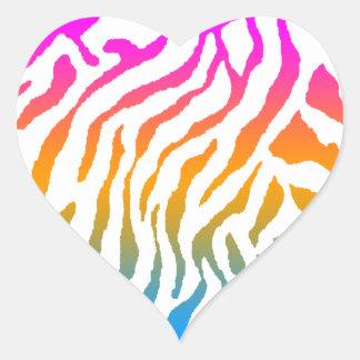 Rayas del tigre del tigre 80s de Corey Pegatina En Forma De Corazón
