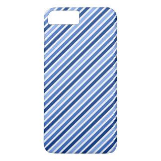 Rayas diagonales azules y blancas de moda funda iPhone 7 plus