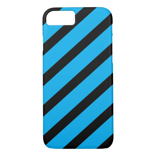 Rayas diagonales azules y negras funda iphone 7 zazzle - Fundas nordicas azules ...