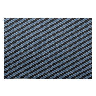 Rayas diagonales blancas del negro azul de las tel mantel individual