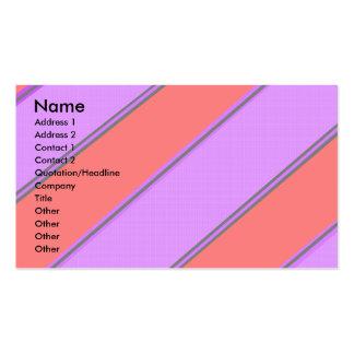 Rayas diagonales violetas rosadas modernas tarjetas de visita