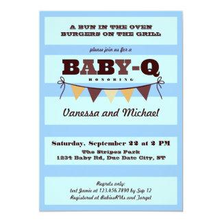 Rayas e invitación del bebé Q del banderín