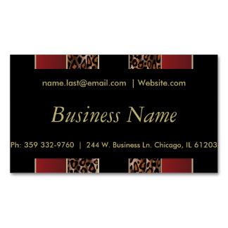 Rayas elegantes del leopardo del negro, del oro y tarjetas de visita magnéticas