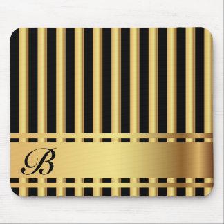 Rayas elegantes del negro y del oro alfombrilla de ratón