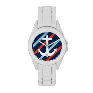 Rayas elegantes náuticas del rojo de azules marino reloj