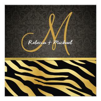 Rayas elegantes y damasco de la cebra del negro y  invitaciones personalizada