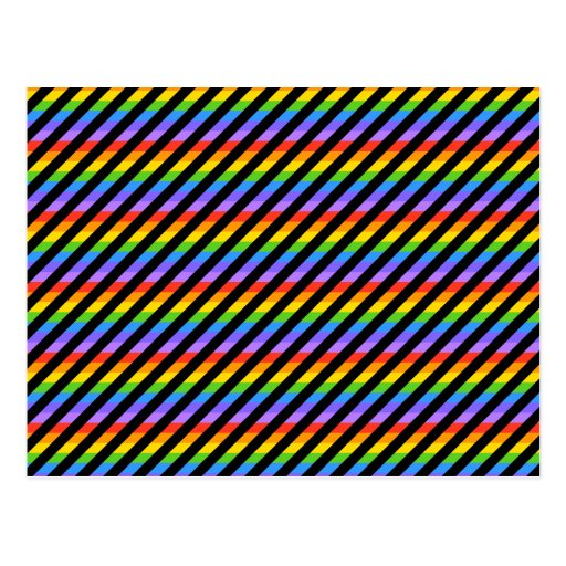 Rayas en colores del negro y del arco iris tarjeta postal
