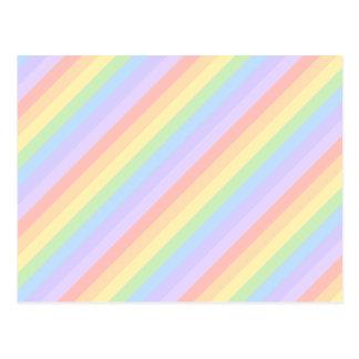 Rayas en colores pastel del arco iris postal