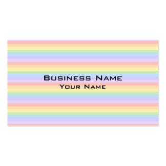 Rayas en colores pastel del arco iris tarjetas de visita