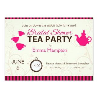 Rayas enojadas del marrón del rosa de la fiesta invitación 12,7 x 17,8 cm